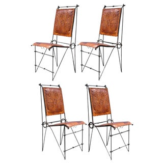 1970s Vintage Ilana Goor Style Iron & Tooled Leather Brutalist Dining Chairs- Set of 4 For Sale