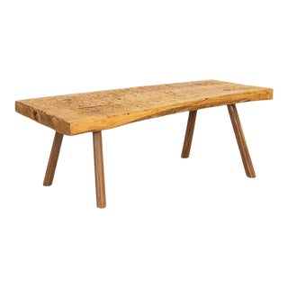 Vintage Slab Wood Coffee Table With Peg Splay Legs From Hungary For Sale