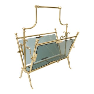 Mid-Century Maison Bagues Magazine Rack in Polished Brass and Blue-Gray Smoke Glass For Sale