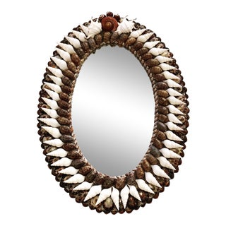 Oval Empire-Style Shell Mirror