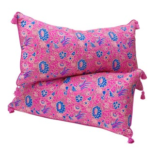 Indian Silk Block-Print Large Pillow Pair