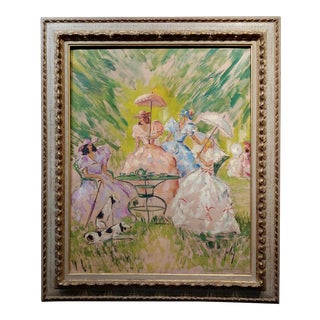 Women W/ Parasols Having Breakfast at the Park-French Oil Painting C1910s For Sale