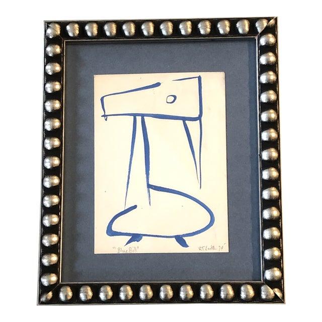 "Original Vintage 1970's Robert Cooke ""Blue Bill"" Duck Painting For Sale"