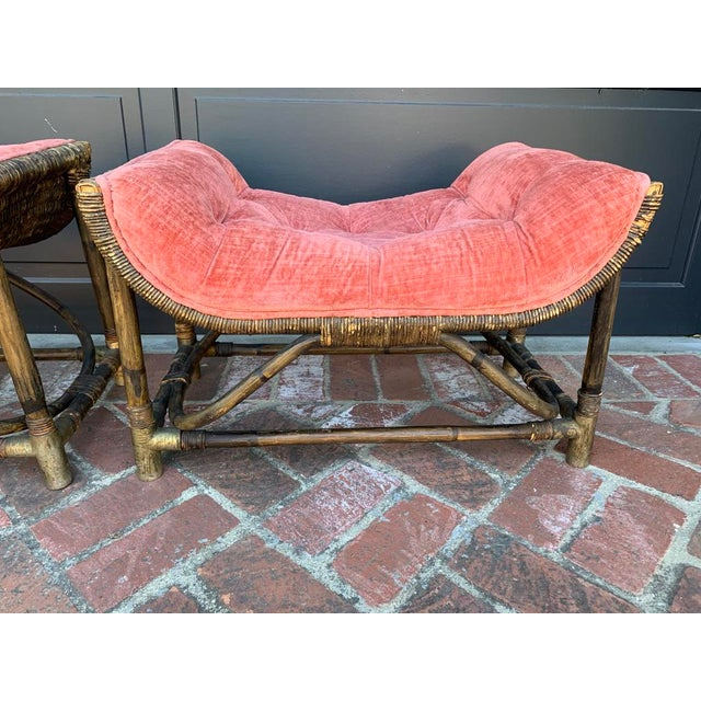 1950s Upholstered Salmon Tufted Ottoman - a Pair For Sale - Image 4 of 8