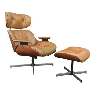 Mid-Century Bent Wood Recliner With Ottoman by Selig