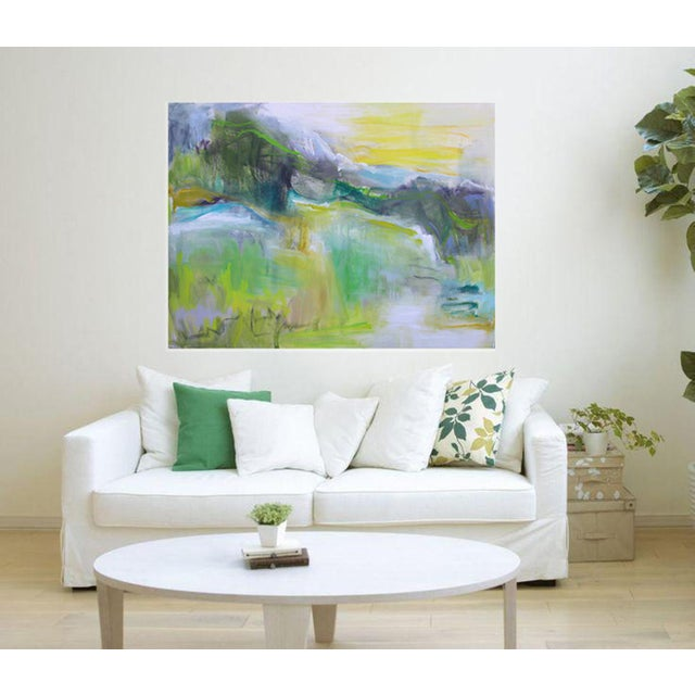 """Canvas """"Rocky Mountain Morning"""" by Trixie Pitts Large Abstract Landscape Oil Painting For Sale - Image 7 of 10"""