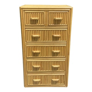 1970s Bamboo 6 Drawer Dresser For Sale