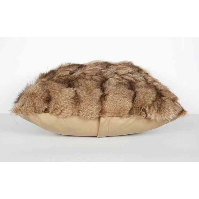 Luxury Fox Fur Throw Pillows in Taupe For Sale - Image 5 of 6