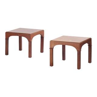 1950s Vintage Walnut Coliseum Style Side Tables- a Pair For Sale