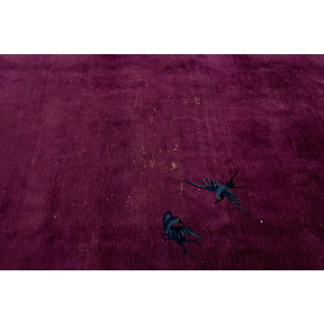 Antique Purple Chinese Mandarin Wool Rug 9 Ft 9 in X 16 Ft 3 In. For Sale - Image 9 of 11
