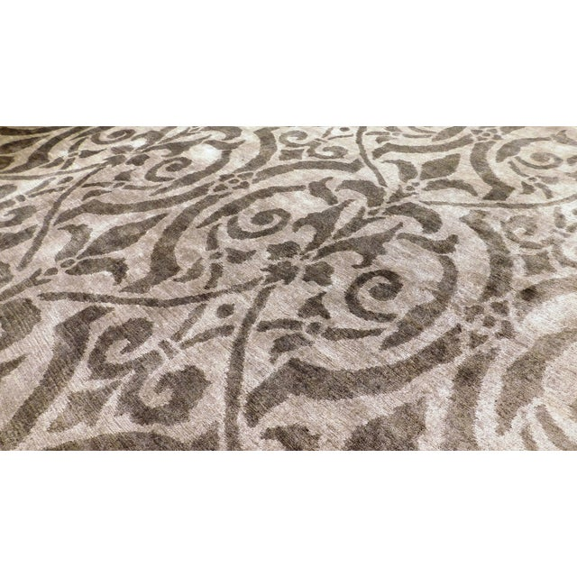 "Contemporary Bamboo Silk Damask Rug - 8′9″ × 11′9"" - Image 5 of 5"