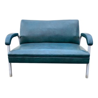 1950s Blair Furniture Aluminum and Vinyl Settee For Sale