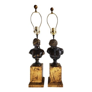 Mid Century Frederick Cooper Bronze Bust Lamps- a Pair For Sale