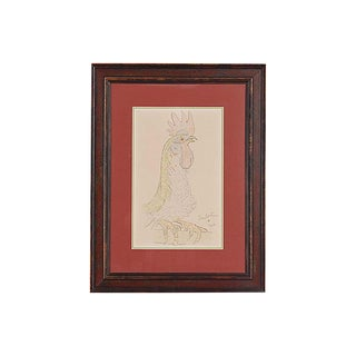 1950s Vintage Jean Cocteau Rooster Lithograph For Sale