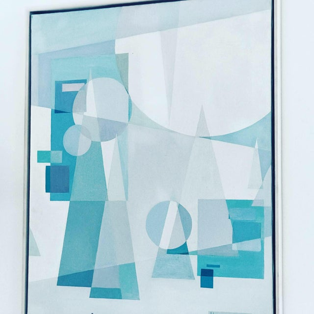 Original Mid Century German Cubist Painting, Signed by Artist 1971 For Sale In Los Angeles - Image 6 of 13