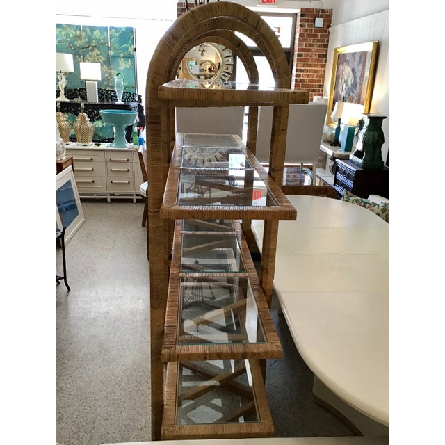 Bielecky Brothers Bielecky Brothers Rattan Arch Top Etagere For Sale - Image 4 of 12