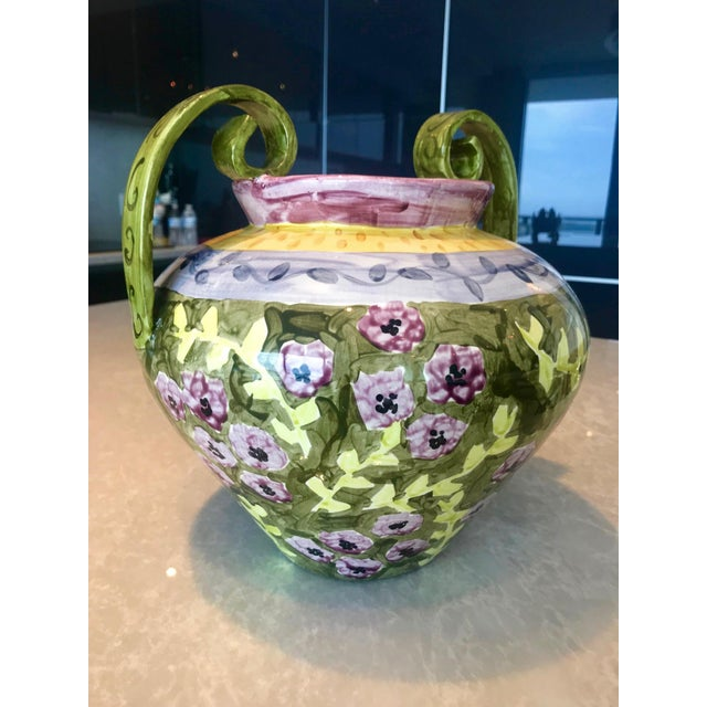 Impressionist Hand Painted Ceramic Urn Vase, Italy 1980's For Sale - Image 4 of 13