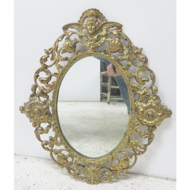 Victorian Style Brass Wall Mirror For Sale In Philadelphia - Image 6 of 6
