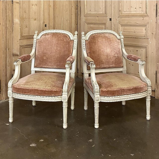 Pair 19th Century French Louis XVI Painted Armchairs ~ Fauteuils For Sale - Image 13 of 13