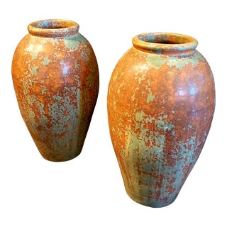 Early 20th Century Glazed Terracotta Jars- a Pair For Sale