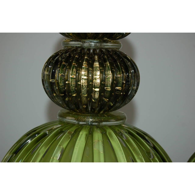 Vintage Murano Glass Table Lamps Green Gold For Sale - Image 10 of 10