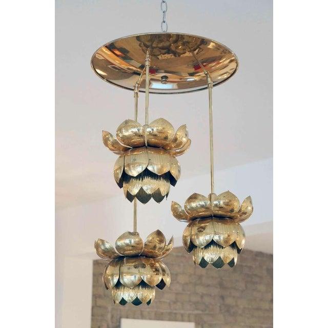 Triple Light Brass Lotus Pendant - Image 4 of 8