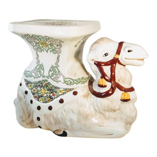 Mid 20th Century Hollywood Regency Camel Ceramic Garden Stool/Side Table For Sale