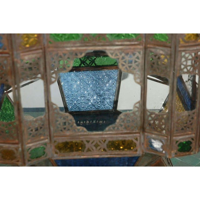 Vintage Moorish Glass Lantern From Marrakech For Sale - Image 9 of 10