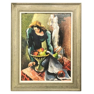 Vintage Mid-Century Buccholz Woman and Ghost Oil Painting For Sale