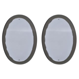 Fontana Arte Oval Mirrors With Taupe Base and Scalloped Beveled Frame - a Pair For Sale