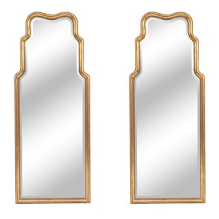 Mid 20th Century English Georgian Gilt Wood Wall Mirrors-a Pair For Sale