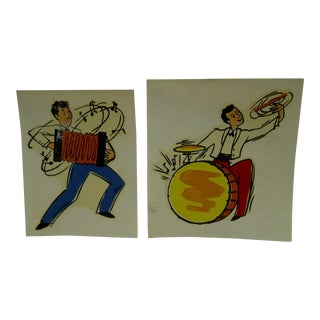 """Vintage 1930s Decal / Wall Decorations """"Accordian & Drummer"""" the Meyercord Co. Chicago - a Pair For Sale"""
