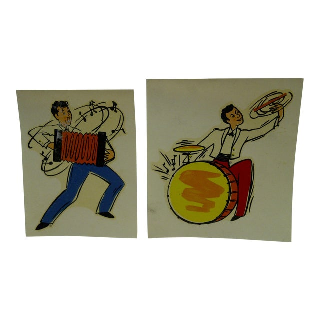 "Vintage 1930s Decal / Wall Decorations ""Accordian & Drummer"" the Meyercord Co. Chicago - a Pair For Sale"