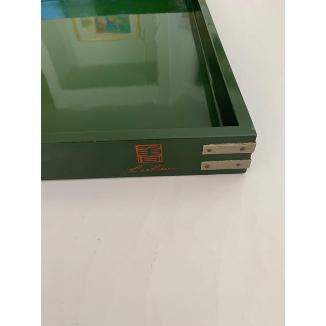 """Mid-Century Modern Roe Kasian, """"British Racing Car Green"""" Lacquer Tray - 1970's For Sale - Image 3 of 11"""