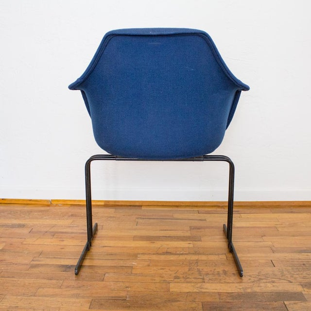 Vecta Chair in Blue Tweed Upholstery, Maurice Burke Fiberglass Shell For Sale - Image 6 of 9