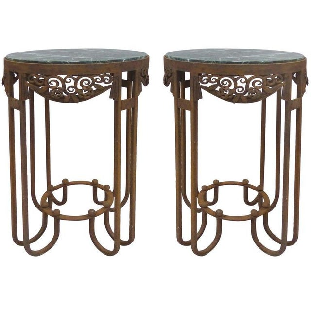French Art Deco Wrought Iron Marble Top Tables by Paul Kiss - A Pair For Sale - Image 11 of 11