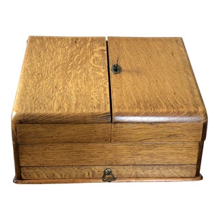 19th Century Oak Travel Writing Slope Lap Desk Box For Sale
