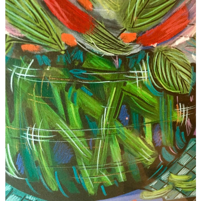 1990s 1991 Original Penny Feder Expressionist Floral Monotype Painting- Vintage/Signed For Sale - Image 5 of 13