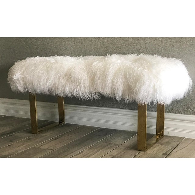 Hollywood Regency Large Mongolian Sheepskin and Brass Bench For Sale - Image 4 of 6