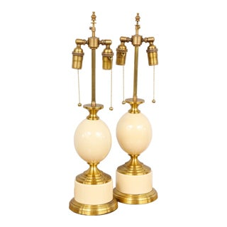 """Pair of French 1970s """"Ostrich Egg"""" Table Lamps For Sale"""