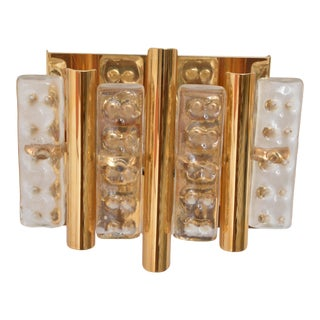 Set of Two Brass and Glass Wall Lamps by Carl Fagerlund for Lyfa and Orrefors For Sale