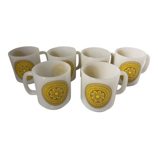 1960s Gold Yellow Flower Milk Glass Mugs - Set of 6 For Sale