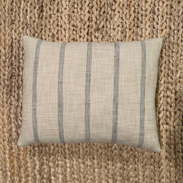 Contemporary Aqua Striped Linen Pillow For Sale - Image 3 of 3