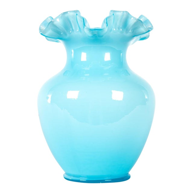 Vintage Blue Opalescent Vase For Sale