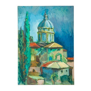 1960s Vintage Italian Church Painting For Sale