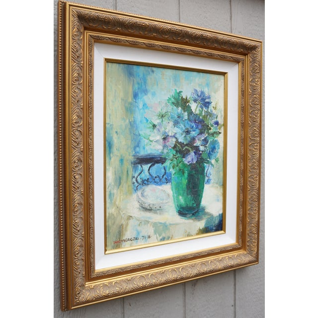 French Vintage Floral Signed Still Life Oil Painting For Sale - Image 3 of 12