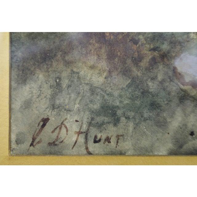 Antique Charles Day Hunt Framed & Signed Landscape Watercolor Painting - Image 3 of 10