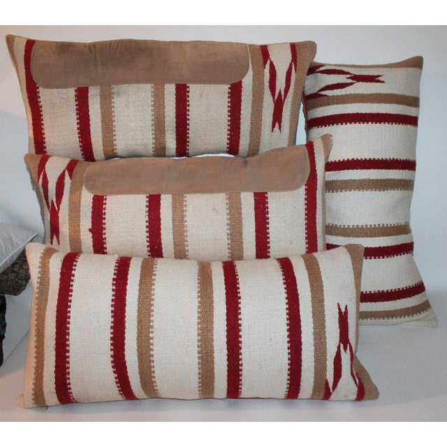 Early 21st Century Navajo Indian Weaving Saddle Blanket Pillows - A Pair For Sale - Image 5 of 10