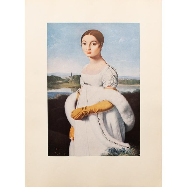 """Paper Jean-Auguste-Dominique Ingres """"Mademoiselle Riviere"""", 1940s Swiss Photogravure For Sale - Image 7 of 7"""