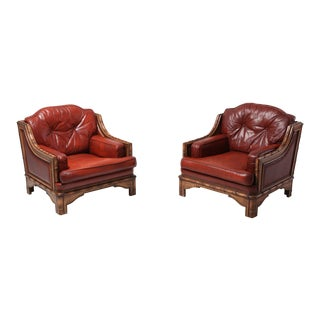Italian Bamboo and Red Leather Easy Chairs For Sale